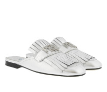 Sabot With Letters Leather Silver Schuhe