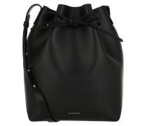 Beuteltasche Bucket Bag Leather Black Raw schwarz