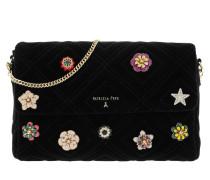 Pattern Shoulder Bag Velvet Black
