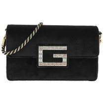 Umhängetasche Shoulder Bag with Square G Velvet Black schwarz