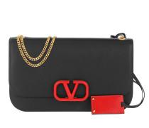 Satchel Bag V Lock Shoulder Leather Black/Rouge Pur