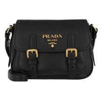 Deer Print Crossbody Bag Leather Black Tasche