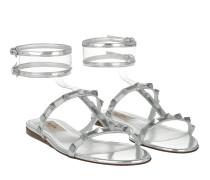 Rockstud Sandals Leather Silver Sandalen