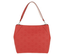 Hobo Bag Klara Monogrammed Leather Medium Viva Red