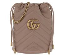 Beuteltasche GG Marmont Mini Bucket Bag Leather Porcel Rose rosa
