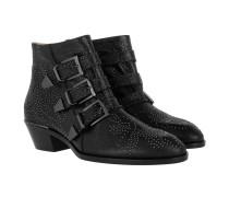 Susanna Studded Gunmetal Boots Metallized Goatskin Black Schuhe