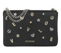 Vitello Grain Lettered Shoulder Bag Nero Tasche