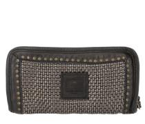 Braided Leather Wallet Acciaio/Grigio