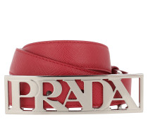 Logo Saffiano Leather Belt Rosso Gürtel