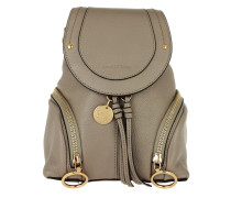 Polly Zip Detail Leather Backpack Motty Grey Rucksack