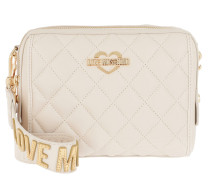 Borsa Nappa Pu Quilted Zip Small Shoulder Bag Avorio Tasche