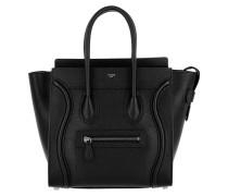 Tote Micro Luggage Bag Leather Black