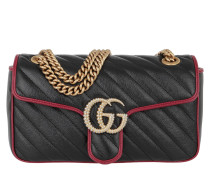 Umhängetasche GG Marmont Small Shoulder Bag Leather Black/Red schwarz