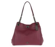 Tote Polished Leather Turnlock Edie Shoulder Bag Dark Berry rot