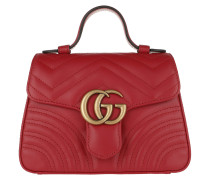 Umhängetasche GG Marmont Mini Top Handle Bag Hibiscus Red rot