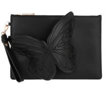 Flossy Butterfly Pouchette Black Clutch