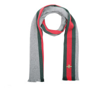 Wool Cashmere Scarf With Web Lead Dark Green Accessoire rot