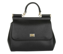 Sicily Bag Medium Dauphine Calfskin Black Tote