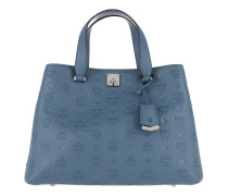 Essential Monogrammed Leather Tote Large Luft Blue Tote