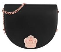 Roslyn Flower Clasp Moon Bag Black