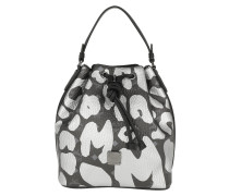Leopard Print Drawstring Bag Small Black Beuteltasche