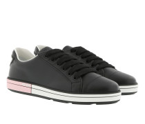 Round Toe Lace-Up Sneakers Leather Black/Rosa Sneakers