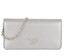 Prada Disco Bag Leather Silver Tasche