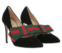 Pumps With Removable Web Bow Suede Black