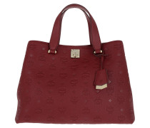 Essential Monogrammed Leather Tote Large Ruby Tan Tote