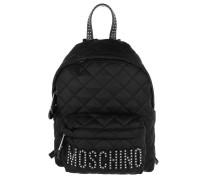 Quilted Logo Studs Backpack Black Rucksack