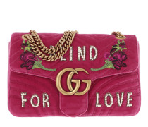 GG Marmont Velvet Embroidered Shoulder Bag Raspberry  Tasche