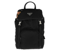 Fabric Backpack With Logo Black Rucksack
