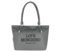 Tote Logo Engraved Handle Bag Grigio