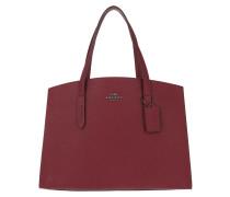 Tote Metallic Interior Charlie Carryall Bag Deep Red
