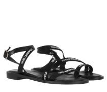 Sandalen Sarabande Flat Strap Sandal Black Leather/Textile