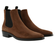 Brushed Calf Leather Booties Bruciato Schuhe