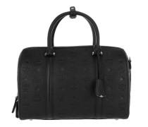 Essential Monogrammed Leather Boston Medium Black Bowling Bag