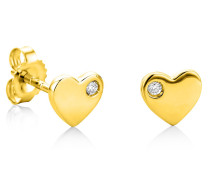 Ohrringe 0.02ct Diamond Heart Stud Earring 18KT Yellow Gold
