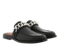 Chain Backless Loafers Leather Black Schuhe