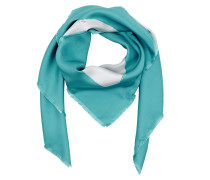 Logo Silk Scarf White / Turquoise Schal blau