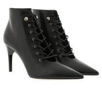Pointed Lace-Up Booties Nero Pumps