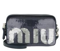 Sequin Logo Crossbody Bag Blu/Argento Tasche