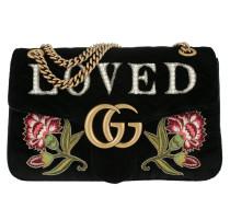 GG Marmont Embroidered Velvet Bag Nero Multi Tasche