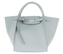 Tote Small Big Bag With Long Strap Leather Mineral Blue