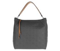 Hobo Bag Klara Monogrammed Leather Hobo Large Charcoal grau