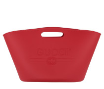 Logo Top Handle Bag Rubber Red Tote