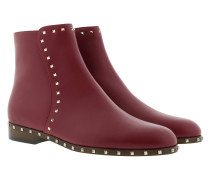 Rockstud Low Ankle Boots Leather Rubino Schuhe