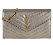 Umhängetasche Monogram Chain Wallet Leather Brown Metallic silber