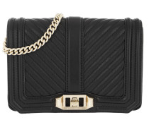 Chevron Quilted Small Love Bag Black