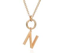 Halskette Oversized Alphabet N Pendant Necklace Yellow Gold